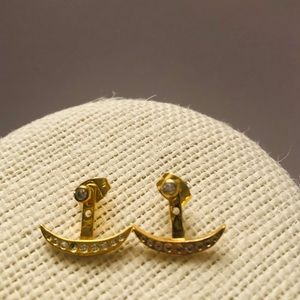 Vintage gold plated anchor earrings with crystals